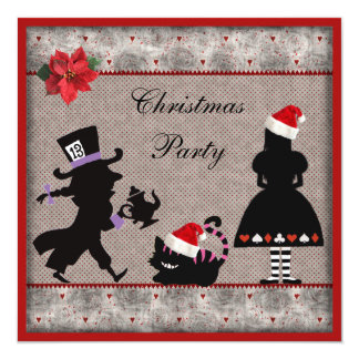 Alice, Mad Hatter & Cheshire Cat Christmas Party Custom Announcement