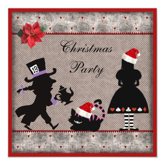 Alice, Mad Hatter & Cheshire Cat Christmas Party Invitation