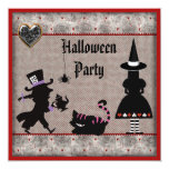 Alice, Mad Hatter & Cheshire Cat Halloween Party Card