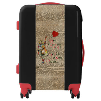 Alice,Mad Hatter &Rabbit Vintage Collage Quote Luggage