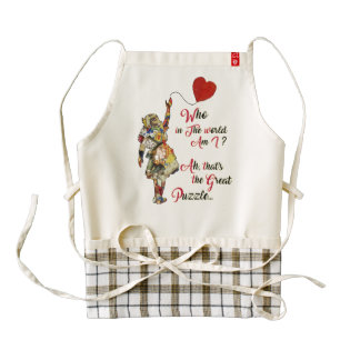 Alice,Mad Hatter &Rabbit Vintage Collage Quote Zazzle HEART Apron