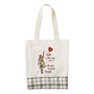 Alice,Mad Hatter &Rabbit Vintage Collage Quote Zazzle HEART Tote Bag