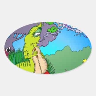 Alice meets Caterpillar Oval Sticker