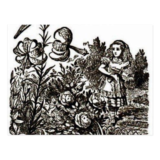 Alice meets flowers postcard