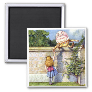 Alice Meets Humpty Dumpty in Wonderland 2 Inch Square Magnet
