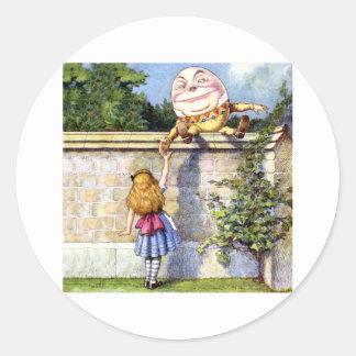 Alice Meets Humpty Dumpty in Wonderland Classic Round Sticker