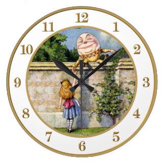 Alice Meets Humpty Dumpty in Wonderland. Large Clock