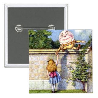 Alice Meets Humpty Dumpty in Wonderland Pinback Button
