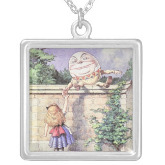 Alice Meets Humpty Dumpty Square Pendant Necklace