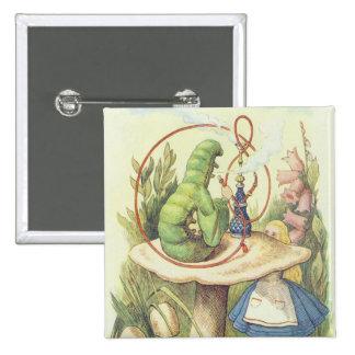 Alice Meets the Caterpillar 2 Inch Square Button