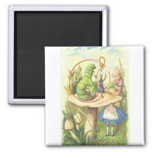 Alice Meets the Caterpillar 2 Inch Square Magnet
