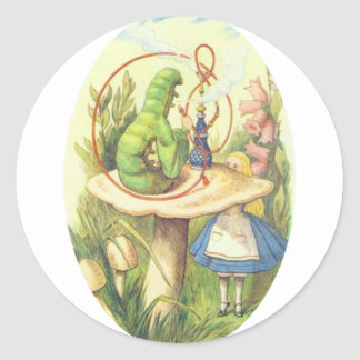 Alice Meets the Caterpillar Classic Round Sticker