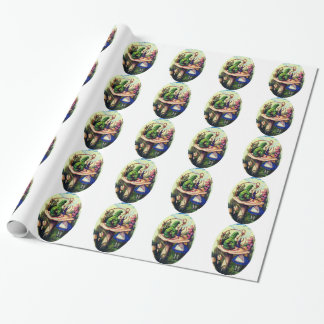 Alice Meets the Caterpillar Color Tiled Wrapping Paper