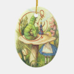 Alice Meets the Caterpillar Double-Sided Oval Ceramic Christmas Ornament