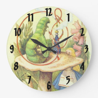 Alice Meets the Caterpillar in Pastels Wall Clock