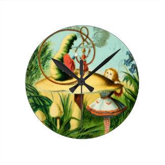 Alice Meets the Caterpillar Round Clock