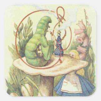 Alice Meets the Caterpillar Square Sticker