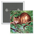 Alice Meets The Cheshire Cat in Wonderland 2 Inch Square Button