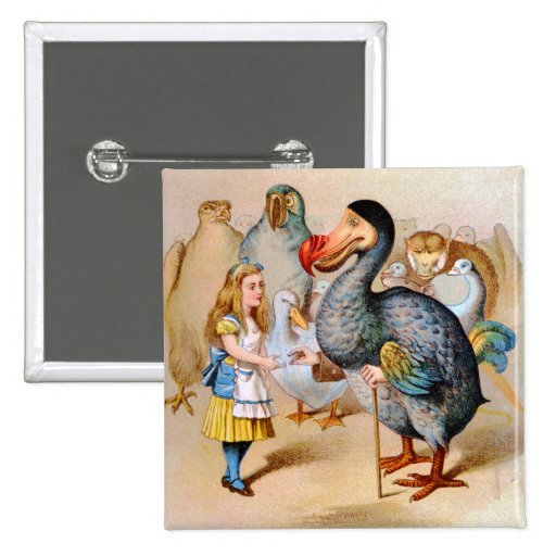 Alice Meets the Dodo Bird at the Caucus Race 2 Inch Square Button