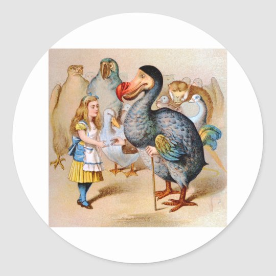Alice Meets the Dodo Bird at the Caucus Race Classic Round Sticker