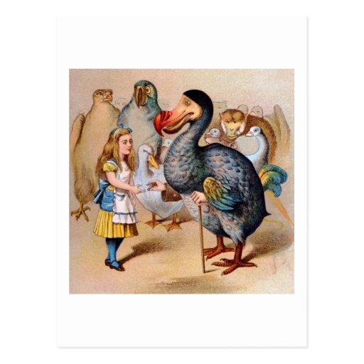 ALICE MEETS THE DODO BIRD POST CARD