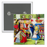 Alice Meets the Queen of Hearts in Wonderland 2 Inch Square Button