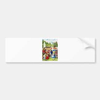 Alice Meets the Queen of Hearts in Wonderland Bumper Sticker