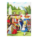 Alice Meets the Queen of Hearts in Wonderland Stretched Canvas Print