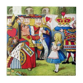 Alice Meets the Queen of Hearts in Wonderland Ceramic Tile
