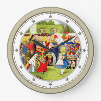 Alice Meets The Queen of Hearts in Wonderland Large Clock