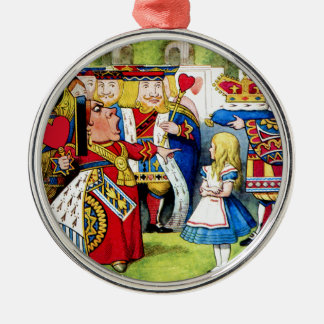 Alice Meets the Queen of Hearts in Wonderland Round Metal Christmas Ornament