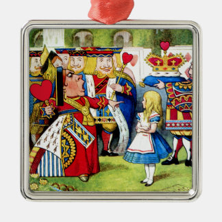Alice Meets the Queen of Hearts in Wonderland Square Metal Christmas Ornament