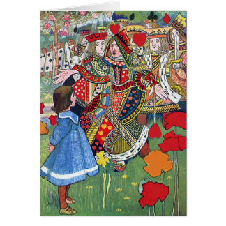 Alice meets the Queen of Hearts Off With Her Head! Greeting Card