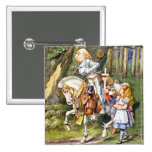Alice Meets the White Knight in Wonderland 2 Inch Square Button