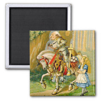 Alice Meets the White Knight in Wonderland Magnet