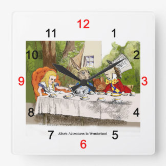 Alice of the country of wonder square wall clock
