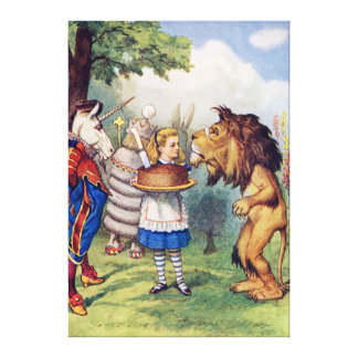 Alice Offers Cake to the Lion and The Unicorn Canvas Print