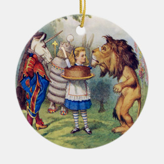 Alice Offers Cake to The Lion and The Unicorn Ceramic Ornament