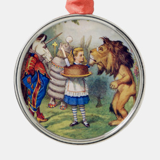 Alice Offers Cake to The Lion and The Unicorn Metal Ornament