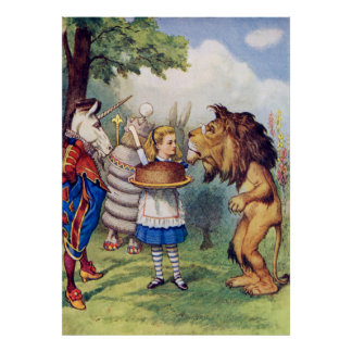 Alice Offers Cake to the Lion and The Unicorn Poster