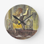 Alice on the Mantle with Bell Jars Round Wall Clocks