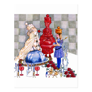 Alice Parties with The White Queen and Red Queen Postcard