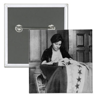 Alice Paul, Sewing Suffrage Flag, 1910s 2 Inch Square Button