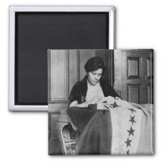 Alice Paul, Sewing Suffrage Flag, 1910s 2 Inch Square Magnet