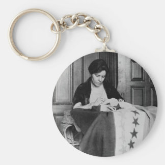 Alice Paul, Sewing Suffrage Flag, 1910s Basic Round Button Keychain