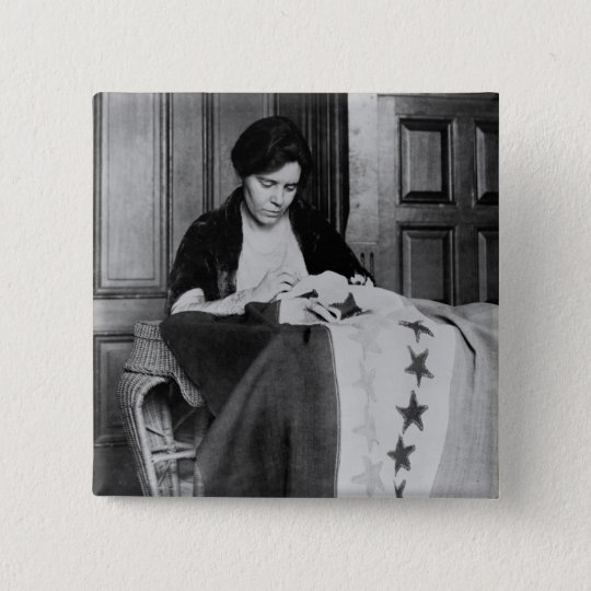 Alice Paul, Sewing Suffrage Flag, 1910s Button