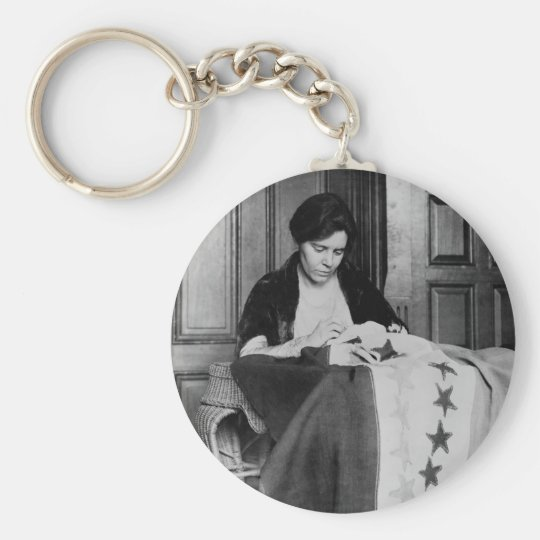 Alice Paul, Sewing Suffrage Flag, 1910s Keychain