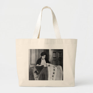 Alice Paul, Sewing Suffrage Flag, 1910s Large Tote Bag