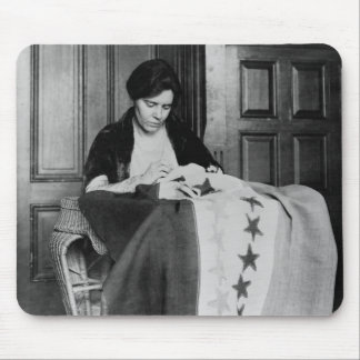 Alice Paul, Sewing Suffrage Flag, 1910s Mouse Pad