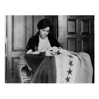 Alice Paul, Sewing Suffrage Flag, 1910s Postcard